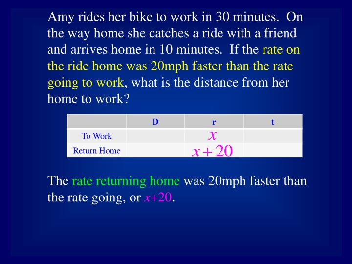 Amy rides her bike to work in 30 minutes.  On the way home she catches a ride with a friend and arri...