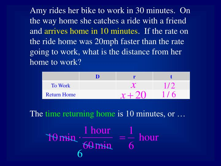 Amy rides her bike to work in 30 minutes.  On the way home she catches a ride with a friend and
