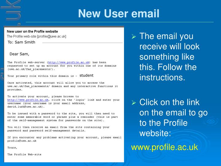 New User email