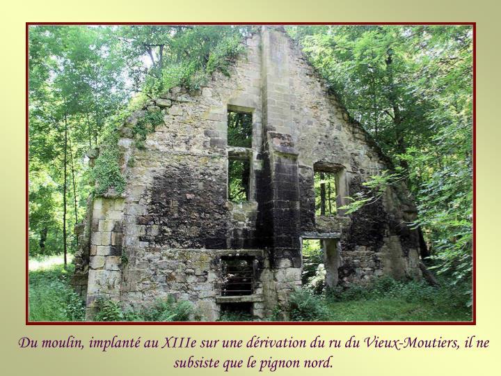 Du moulin, implanté au XIIIe sur une dérivation du ru du Vieux-Moutiers, il ne subsiste que le pignon nord.