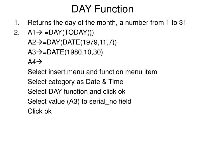DAY Function