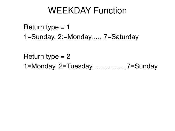 WEEKDAY Function