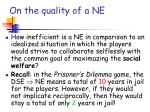 on the quality of a ne