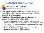 potential function and congestion games