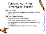 content activities strategies parent