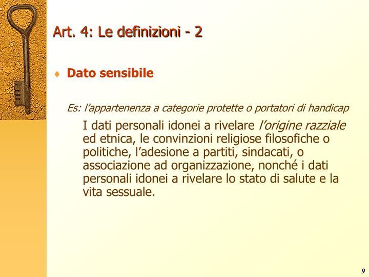 Art. 4: Le definizioni - 2
