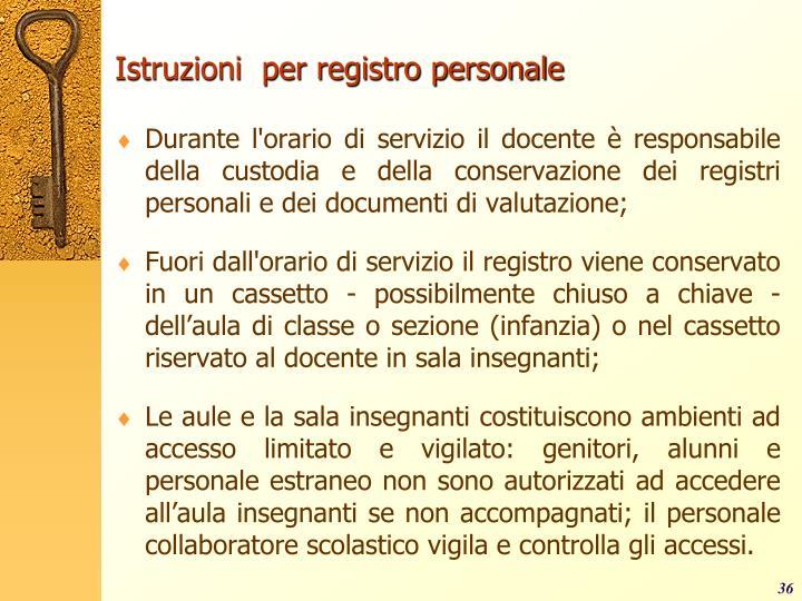 Istruzioni  per registro personale