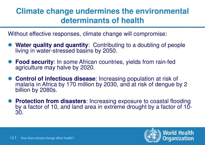 Climate change undermines the environmental determinants of health