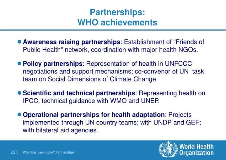 Awareness raising partnerships