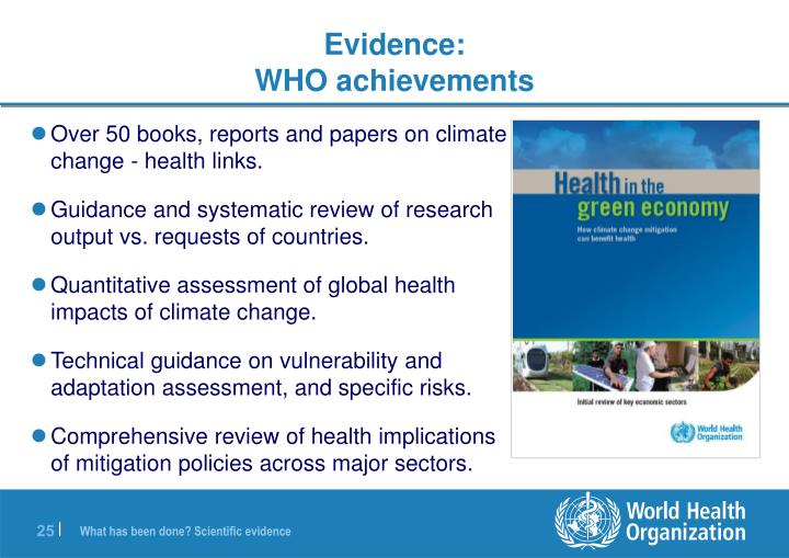 Over 50 books, reports and papers on climate change - health links.
