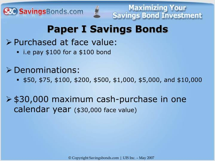 Paper I Savings Bonds
