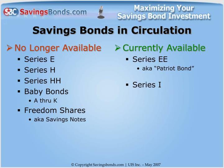 Savings bonds in circulation