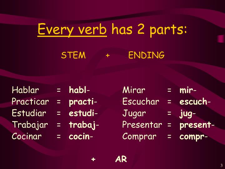Every verb has 2 parts