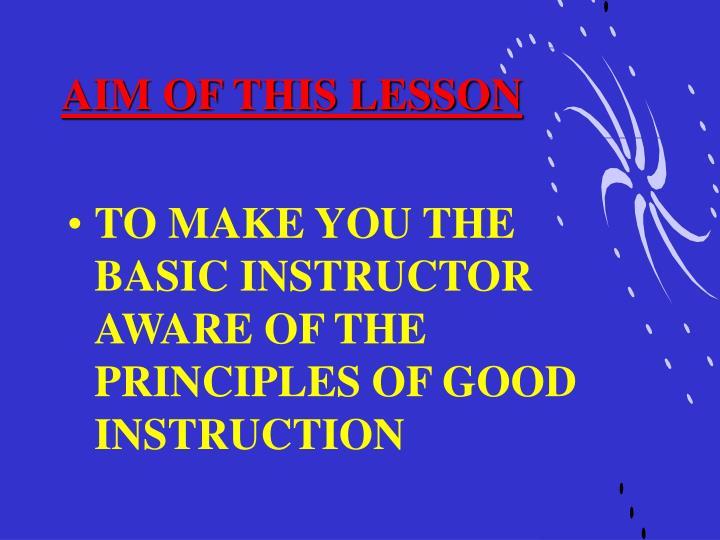 Aim of this lesson