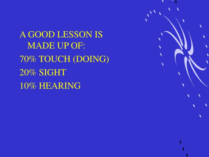 A GOOD LESSON IS MADE UP OF: