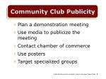 community club publicity
