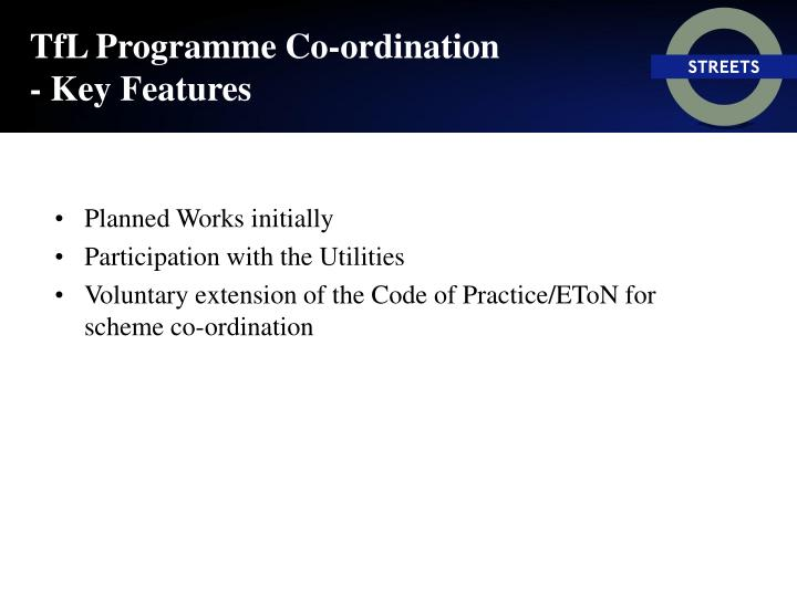 TfL Programme Co-ordination