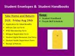 student envelopes student handbooks