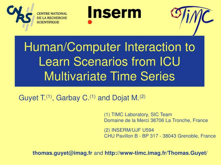 human computer interaction to learn scenarios from icu multivariate time series n.