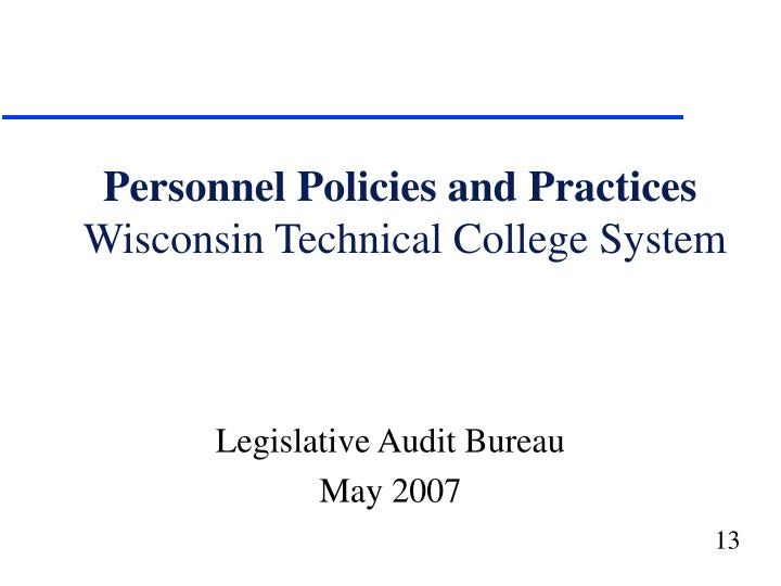 Personnel Policies and Practices