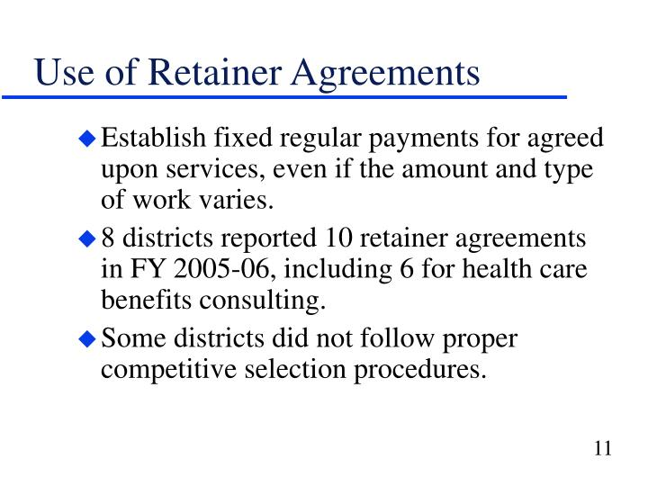 Use of Retainer Agreements