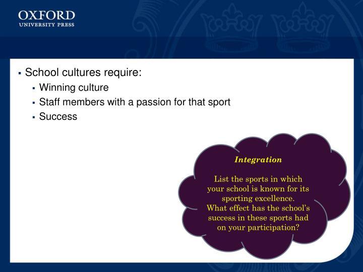School cultures require: