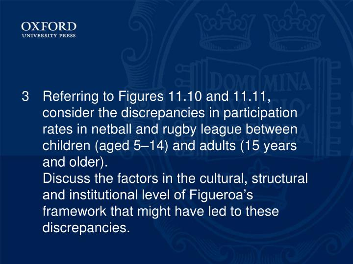 3Referring to Figures 11.10 and 11.11, consider the discrepancies in participation rates in netball and rugby league between children (aged 5–14) and adults (15 years and older).