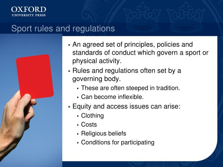 Sport rules and regulations