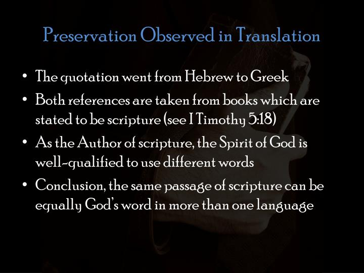 Preservation Observed in Translation