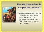 how did abram show he accepted the covenant