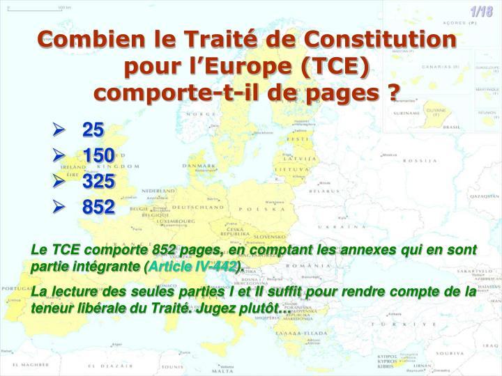 Combien le trait de constitution pour l europe tce comporte t il de pages