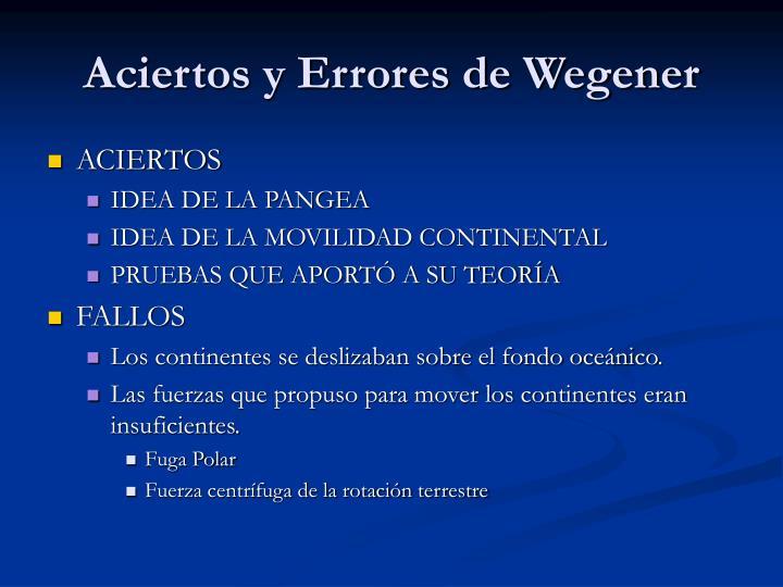 Aciertos y Errores de Wegener