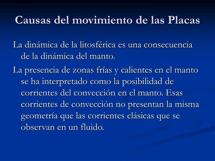 Causas del movimiento de las Placas