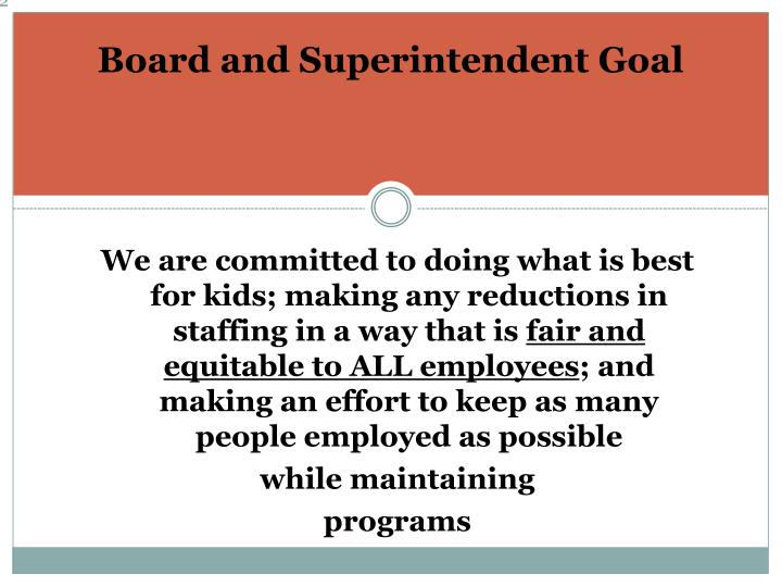 Board and Superintendent Goal