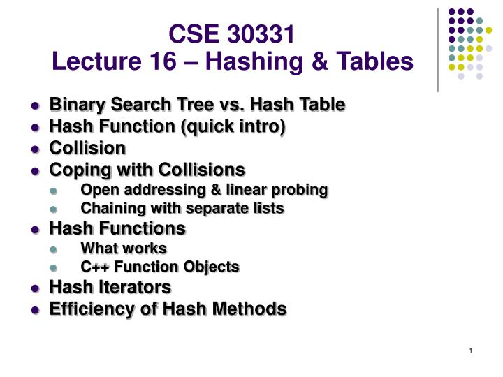 PPT - CSE 30331 Lecture 16 – Hashing & Tables PowerPoint