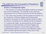 the draft from the convention s presidency