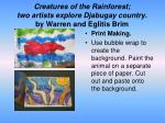 creatures of the rainforest two artists explore djabugay country by warren and eglitis brim