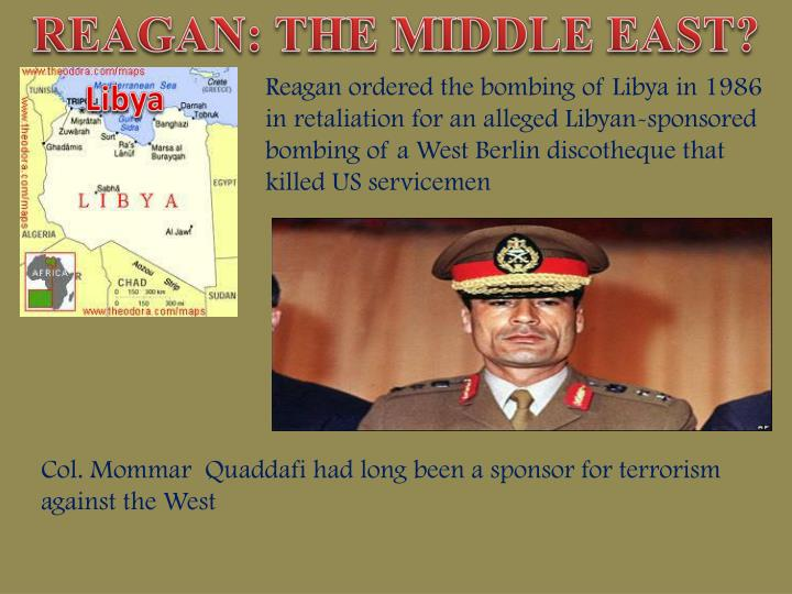 REAGAN: THE MIDDLE EAST?