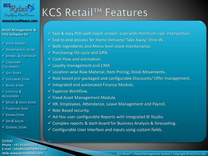 KCS Retail™ Features