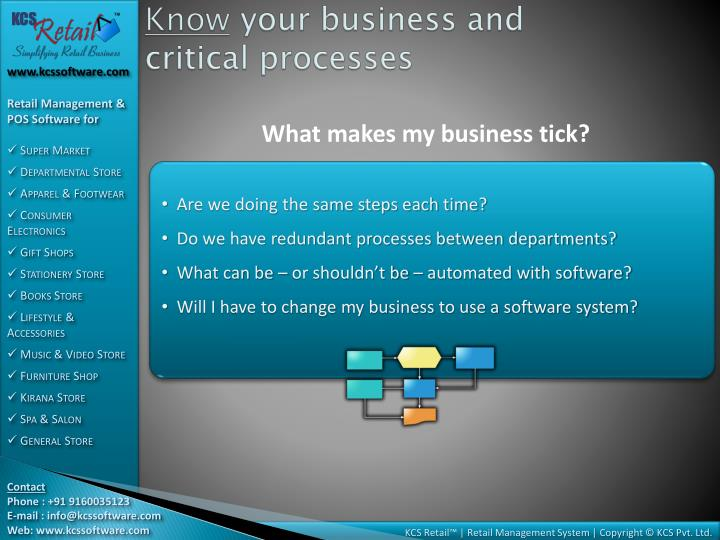 Know your business and critical processes
