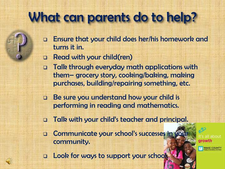 What can parents do to help?