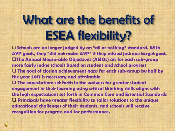 What are the benefits of ESEA flexibility?