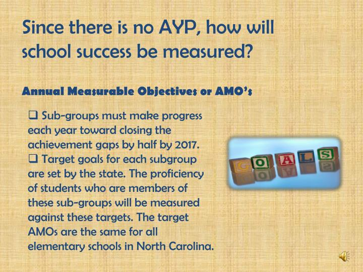 Since there is no AYP, how will school success be measured?