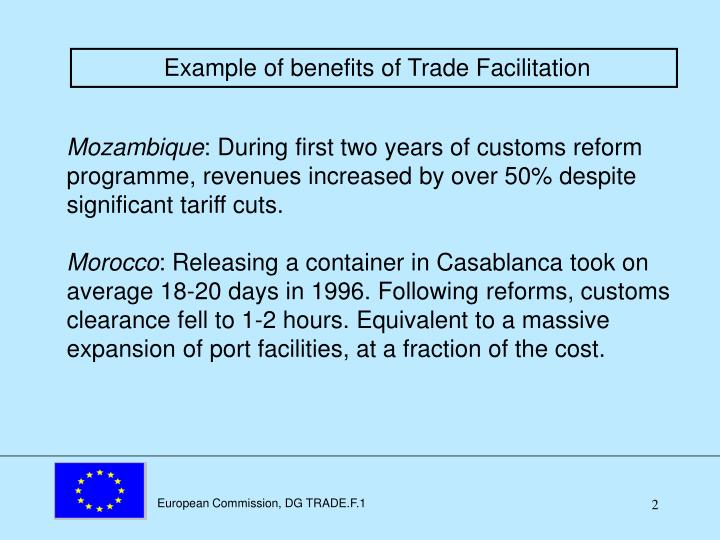 Example of benefits of Trade Facilitation