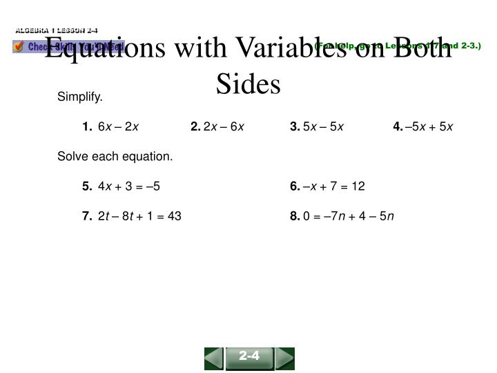 equations with variables on both sides n.