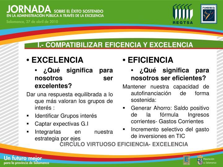 I.- COMPATIBILIZAR EFICENCIA Y EXCELENCIA