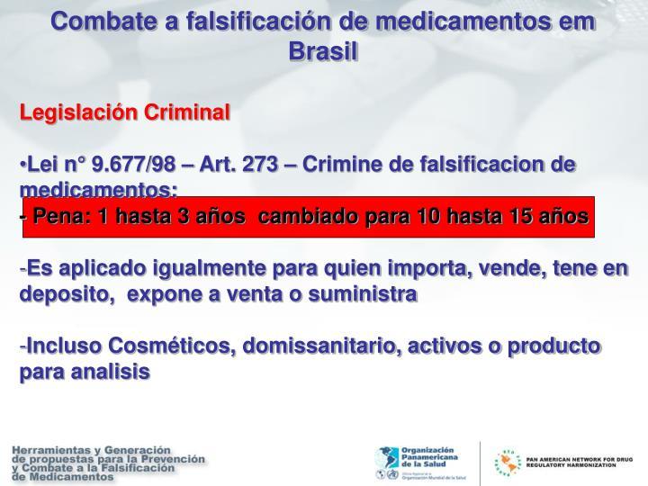 Combate a falsificación de medicamentos em Brasil