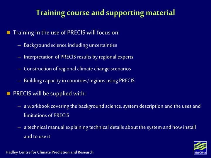 Training course and supporting material