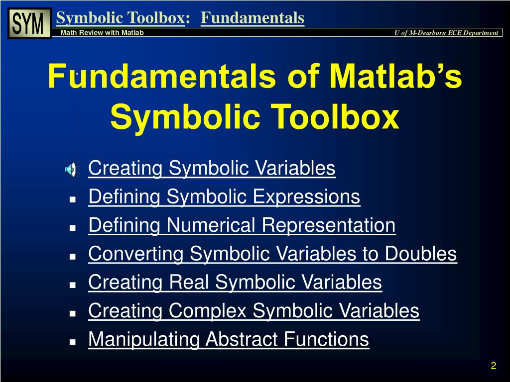 PPT - Symbolic Math Toolbox PowerPoint Presentation - ID:4864578