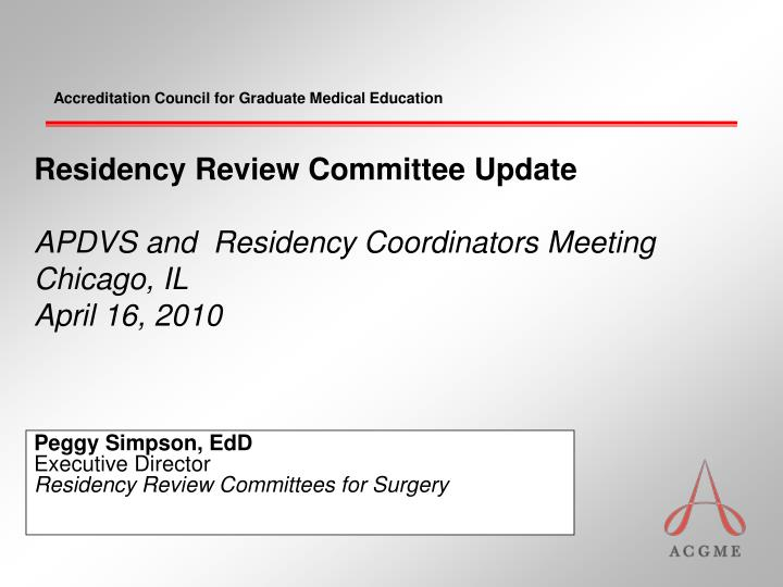 peggy simpson edd executive director residency review committees for surgery n.